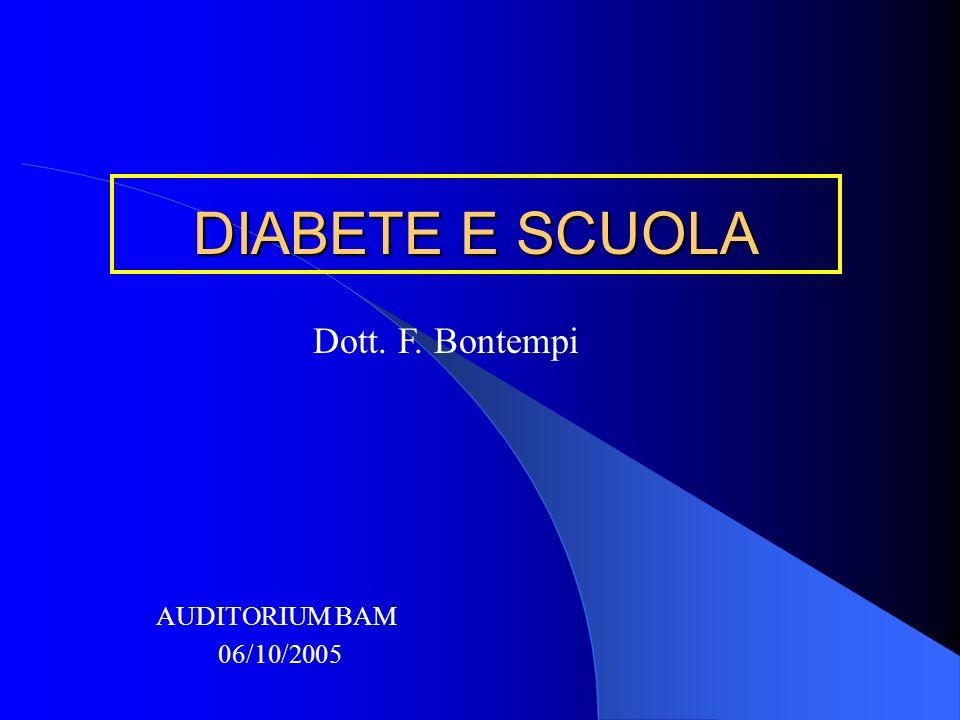 DIABETE E SCUOLA Dott. F. Bontempi AUDITORIUM BAM 06/10/2005