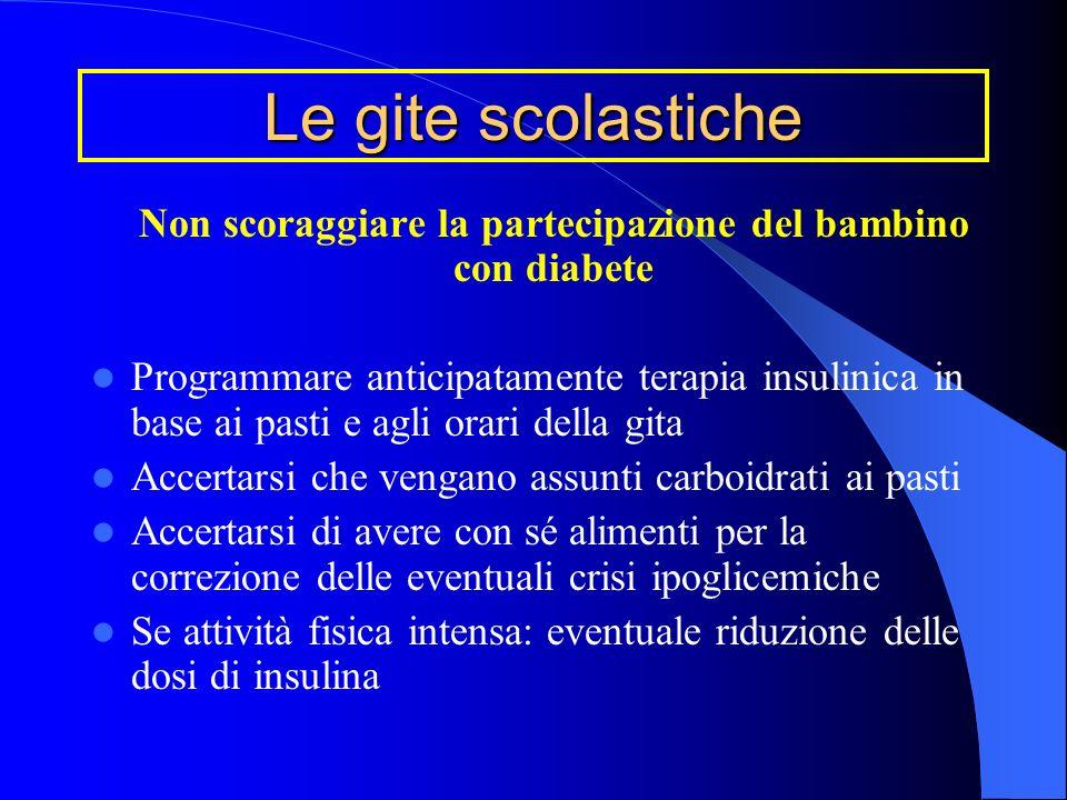 Non scoraggiare la partecipazione del bambino con diabete