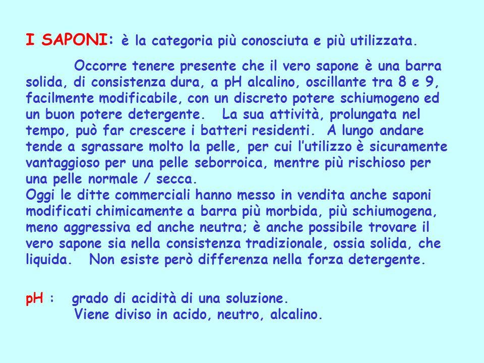 I SAPONI: è la categoria più conosciuta e più utilizzata.