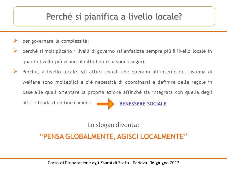 Perché si pianifica a livello locale
