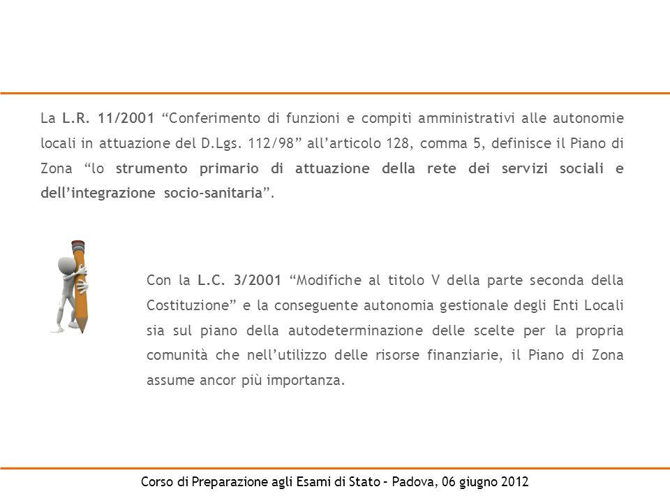 La L.R. 11/2001 Conferimento di funzioni e compiti amministrativi alle autonomie locali in attuazione del D.Lgs. 112/98 all'articolo 128, comma 5, definisce il Piano di Zona lo strumento primario di attuazione della rete dei servizi sociali e dell'integrazione socio-sanitaria .