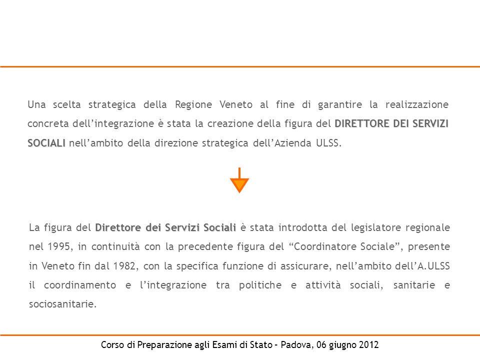 Una scelta strategica della Regione Veneto al fine di garantire la realizzazione concreta dell'integrazione è stata la creazione della figura del DIRETTORE DEI SERVIZI SOCIALI nell'ambito della direzione strategica dell'Azienda ULSS.