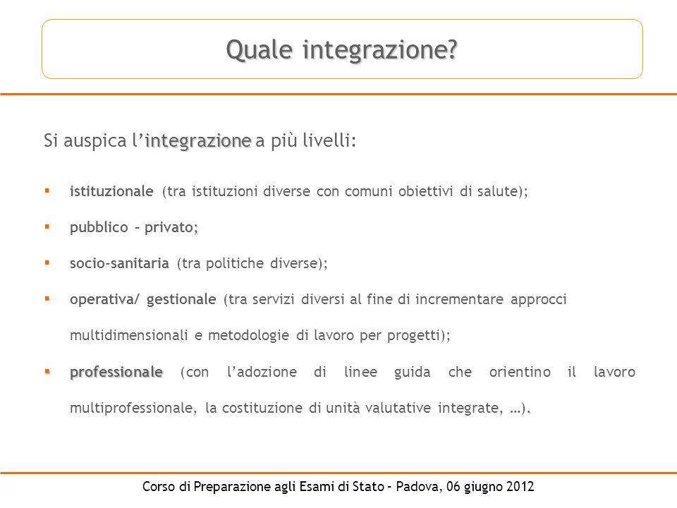 Quale integrazione Si auspica l'integrazione a più livelli: