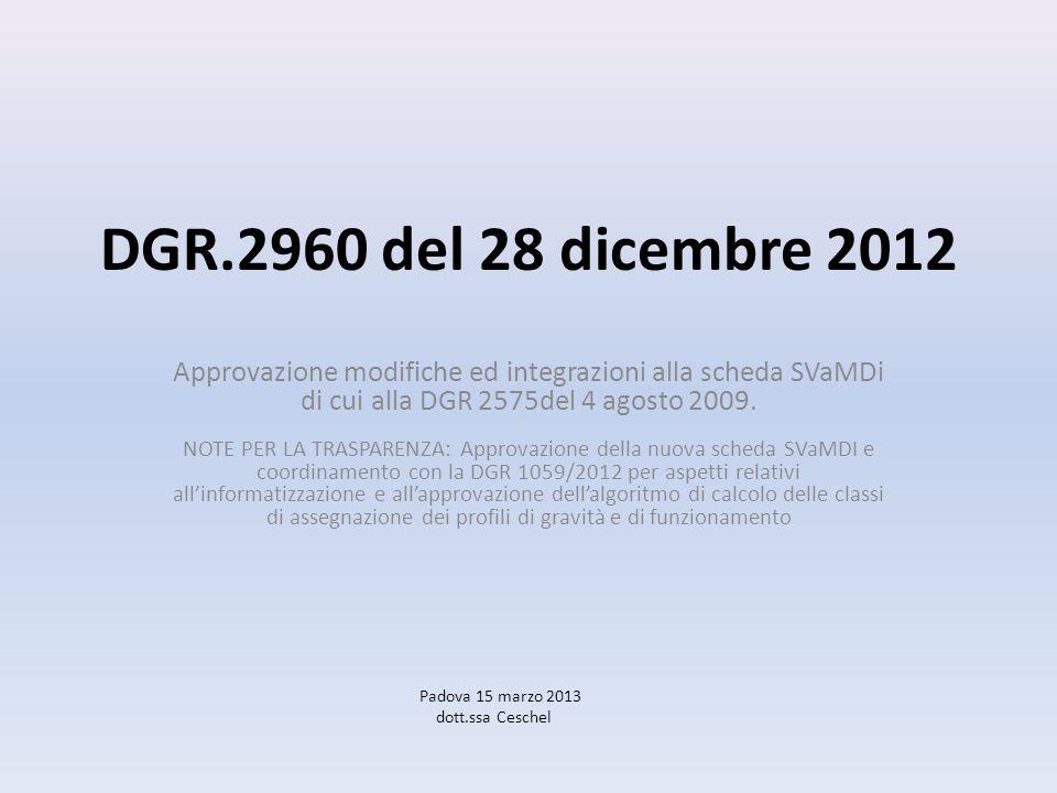 DGR.2960 del 28 dicembre 2012 Approvazione modifiche ed integrazioni alla scheda SVaMDi di cui alla DGR 2575del 4 agosto 2009.
