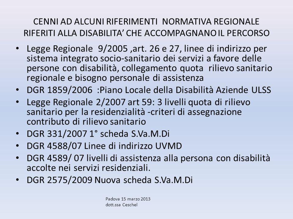 DGR 1859/2006 :Piano Locale della Disabilità Aziende ULSS