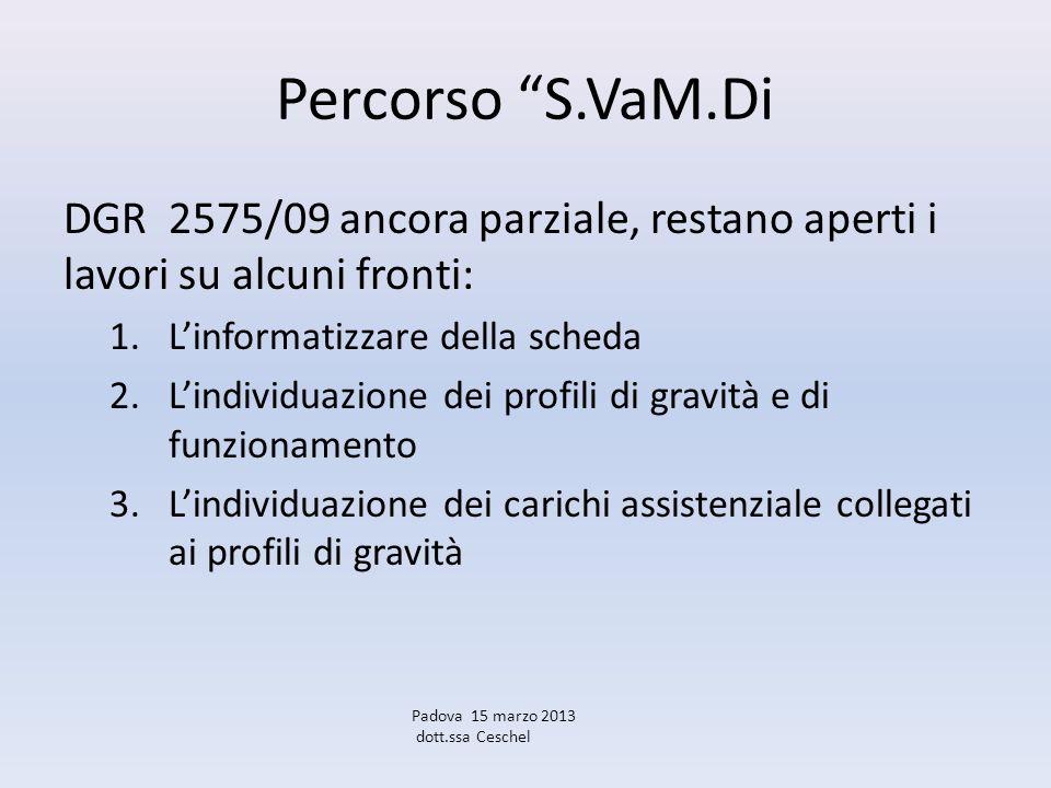 Percorso S.VaM.Di DGR 2575/09 ancora parziale, restano aperti i lavori su alcuni fronti: L'informatizzare della scheda.
