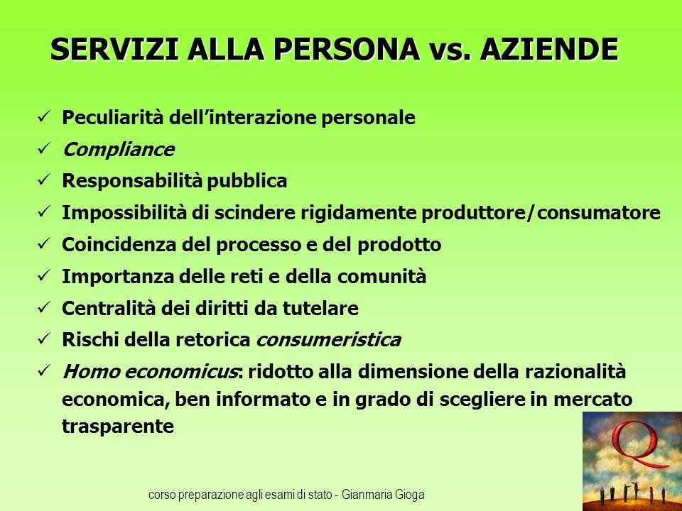 SERVIZI ALLA PERSONA vs. AZIENDE