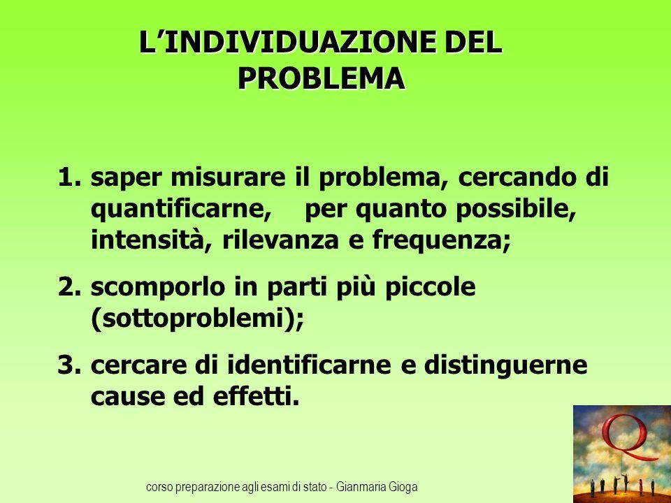 L'INDIVIDUAZIONE DEL PROBLEMA