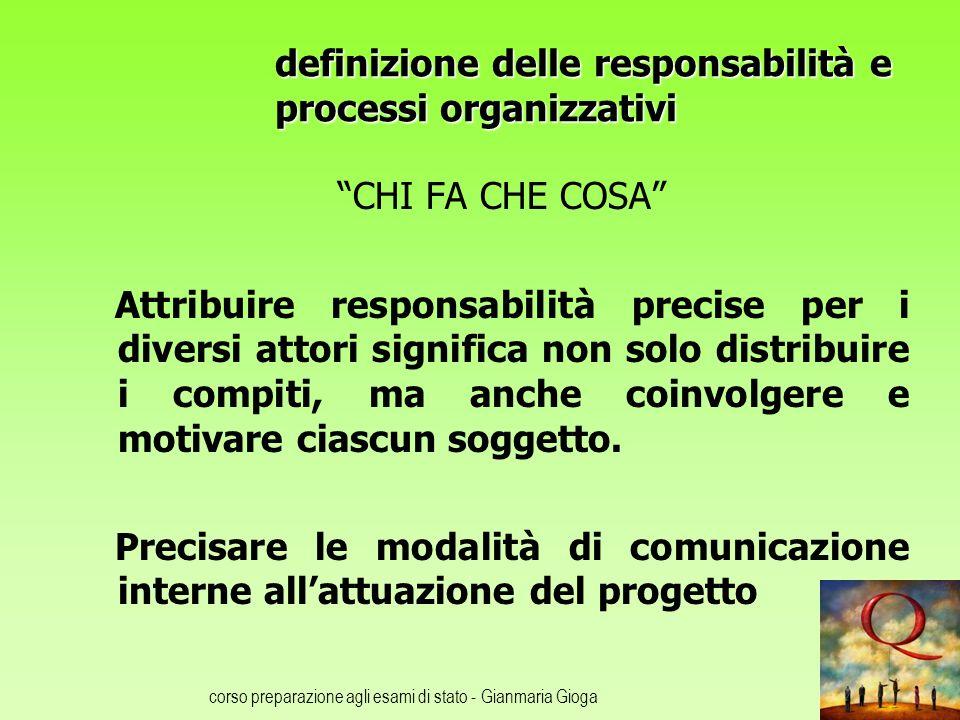 definizione delle responsabilità e processi organizzativi