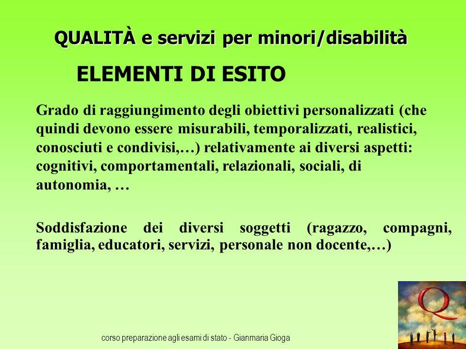 QUALITÀ e servizi per minori/disabilità