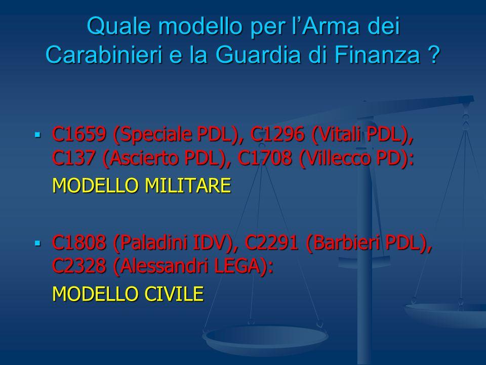 Quale modello per l'Arma dei Carabinieri e la Guardia di Finanza