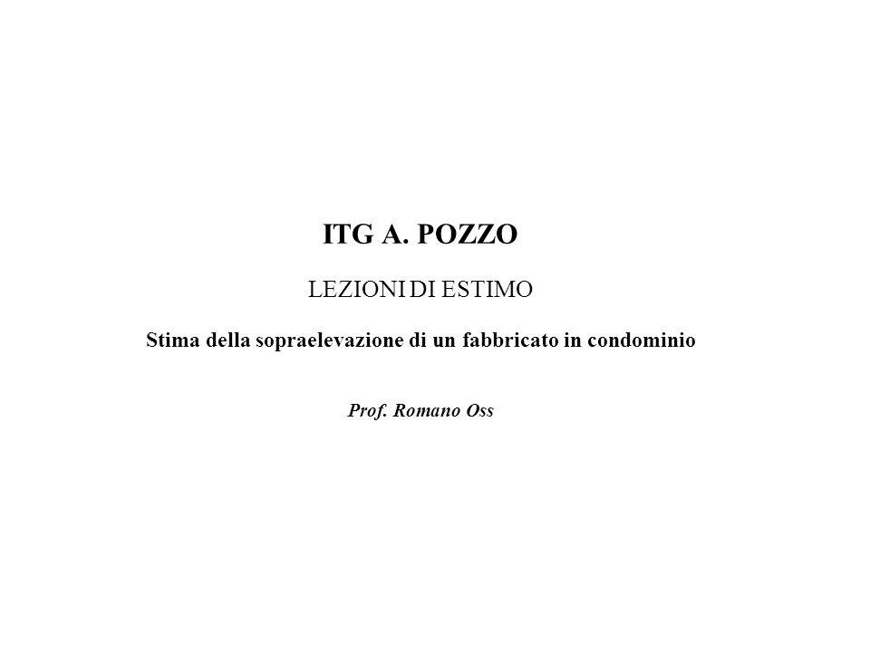 ITG A. POZZO LEZIONI DI ESTIMO Stima della sopraelevazione di un fabbricato in condominio Prof.
