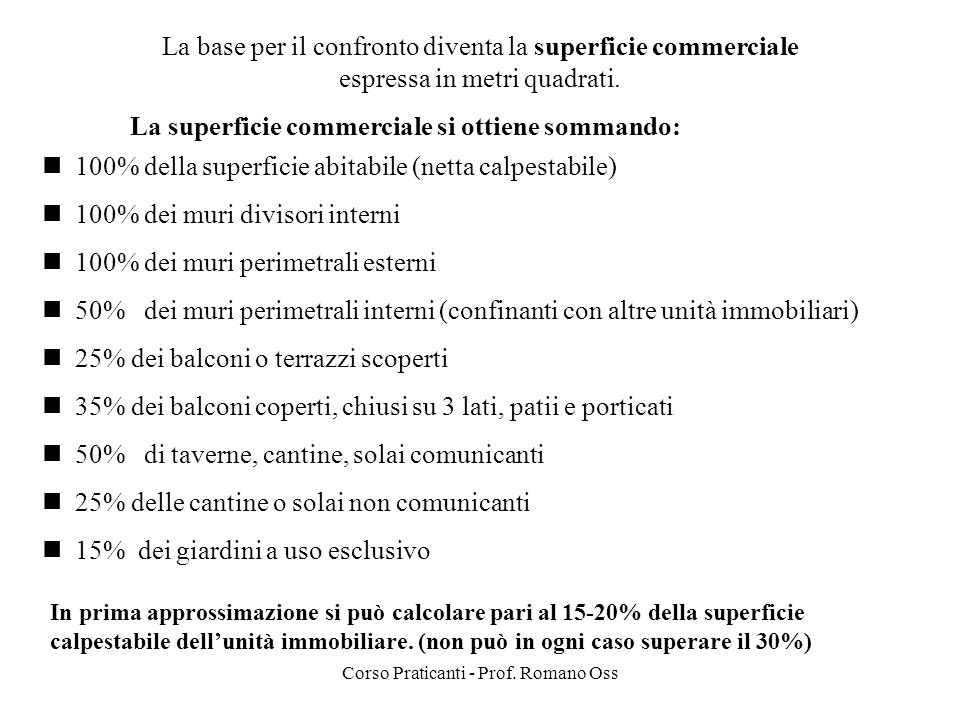 La base per il confronto diventa la superficie commerciale