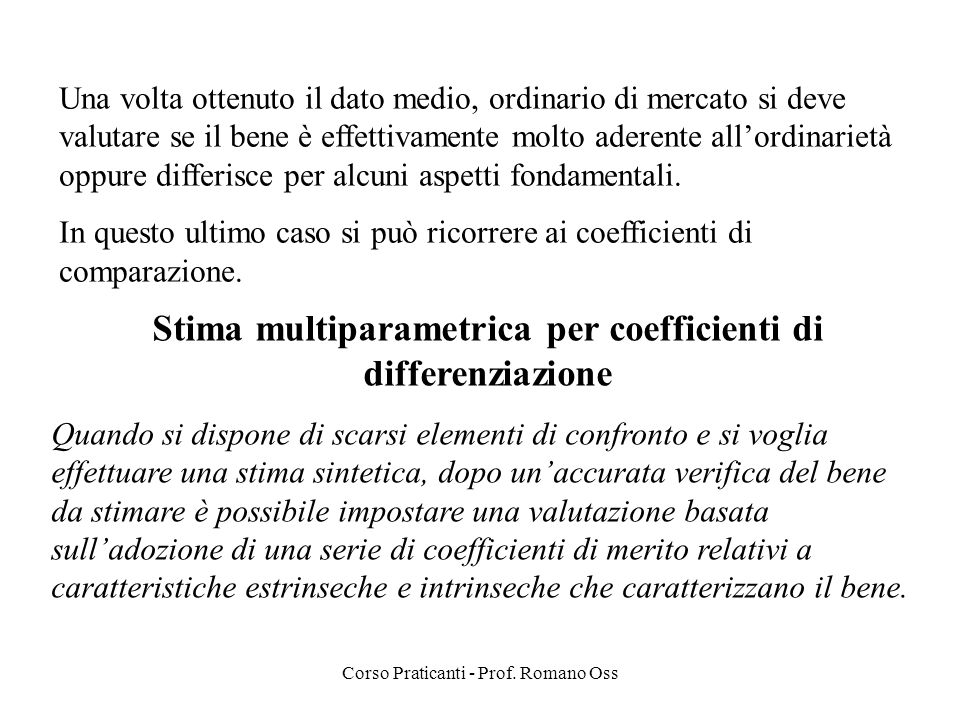 Stima multiparametrica per coefficienti di differenziazione