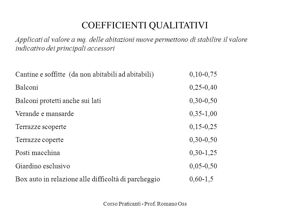COEFFICIENTI QUALITATIVI