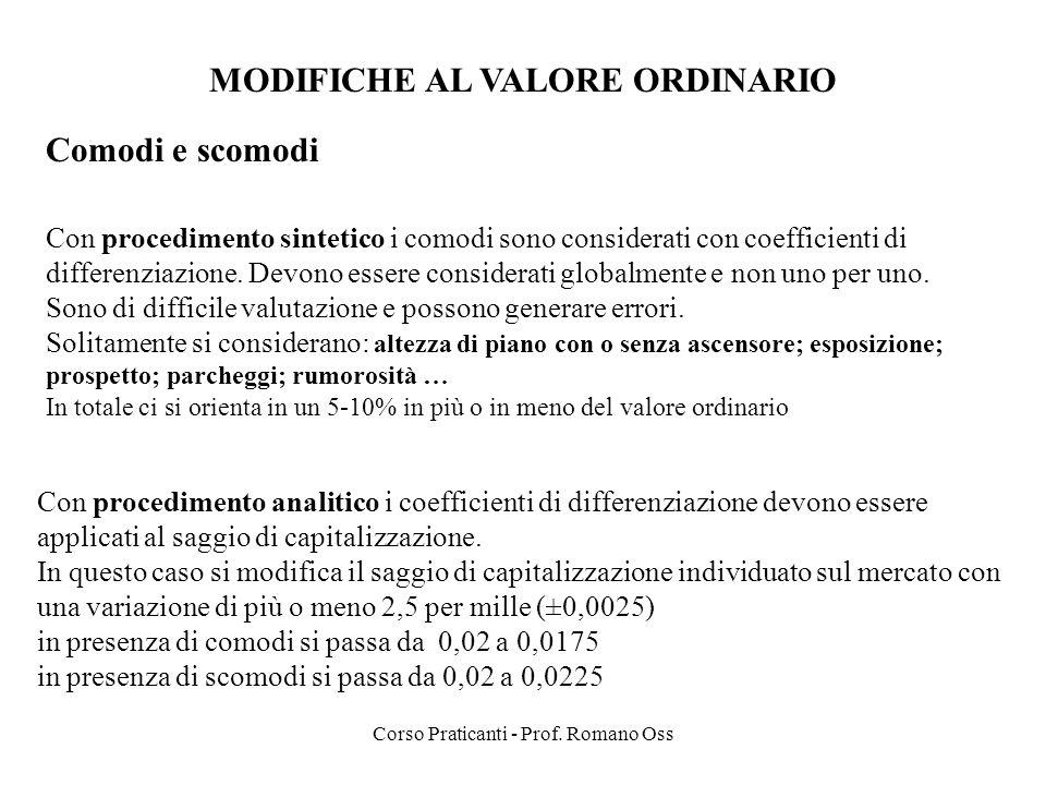 MODIFICHE AL VALORE ORDINARIO