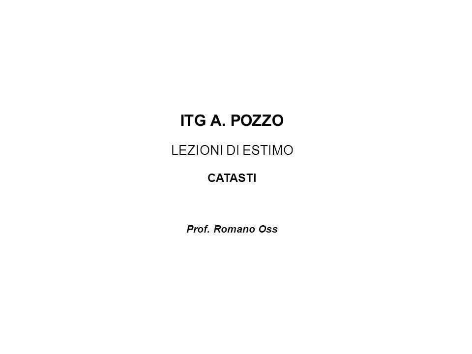 ITG A. POZZO LEZIONI DI ESTIMO CATASTI Prof. Romano Oss