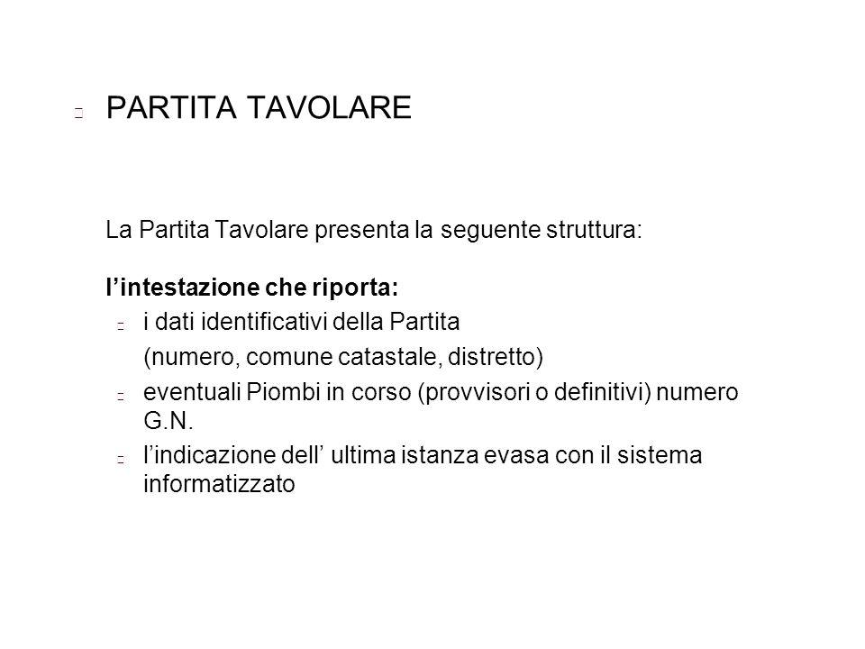 PARTITA TAVOLARELa Partita Tavolare presenta la seguente struttura: l'intestazione che riporta: i dati identificativi della Partita.