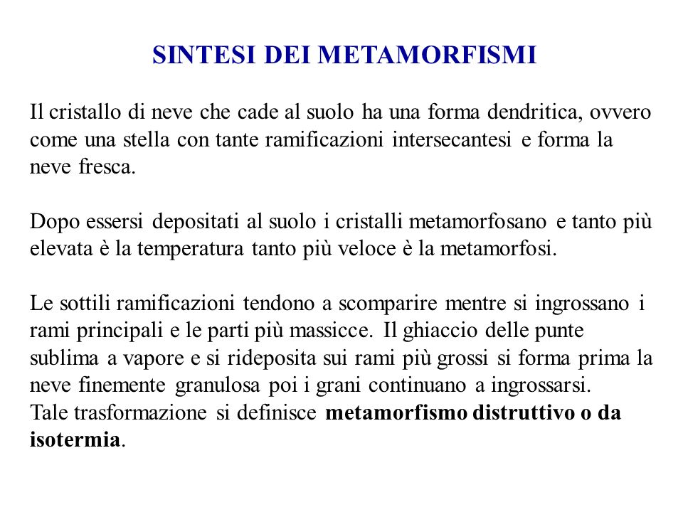 SINTESI DEI METAMORFISMI