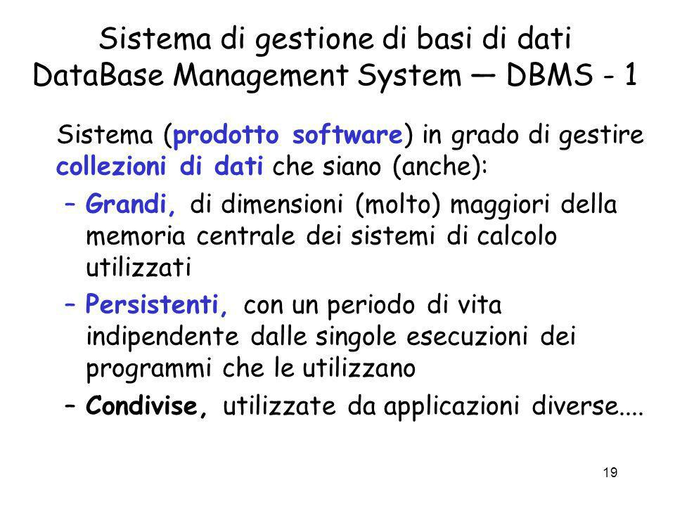 Sistema di gestione di basi di dati DataBase Management System — DBMS - 1