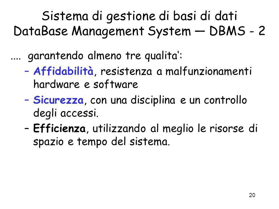 Sistema di gestione di basi di dati DataBase Management System — DBMS - 2