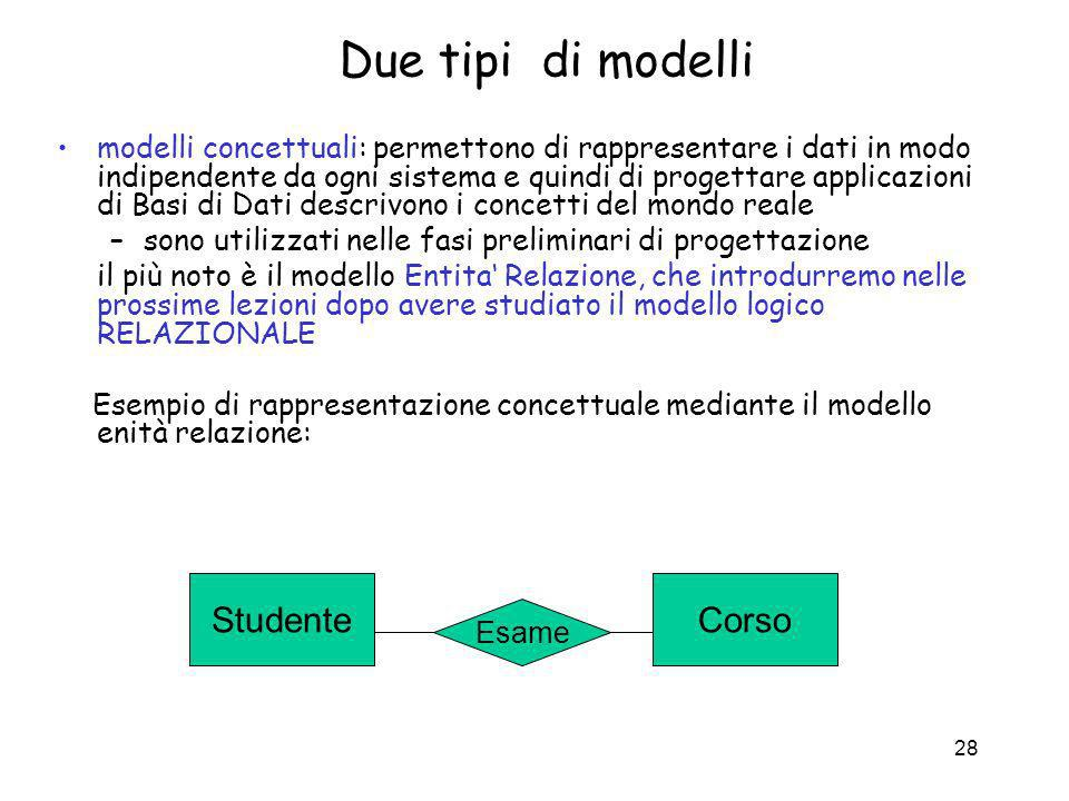 Due tipi di modelli Studente Corso