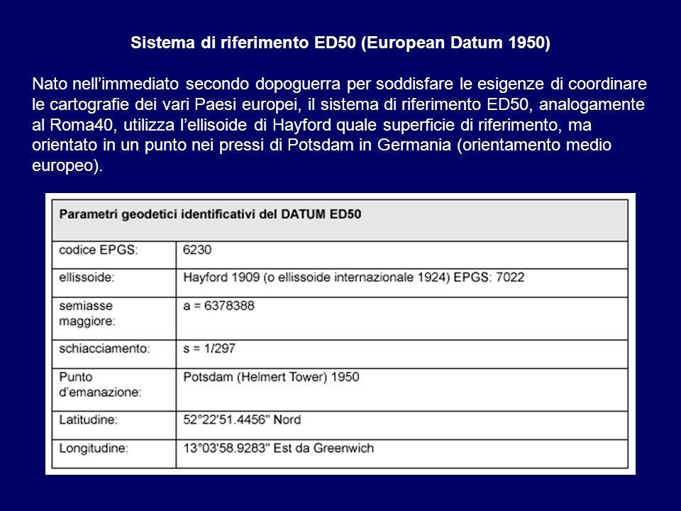 Sistema di riferimento ED50 (European Datum 1950)