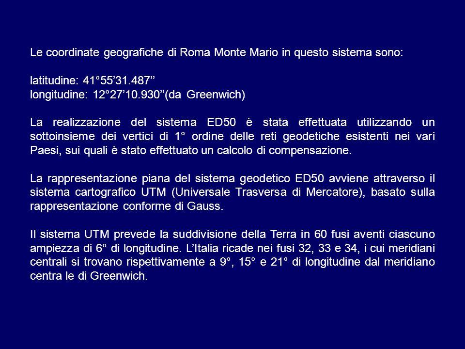 Le coordinate geografiche di Roma Monte Mario in questo sistema sono: