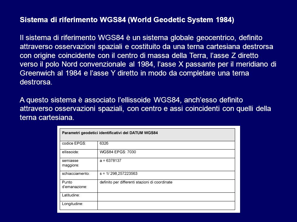 Sistema di riferimento WGS84 (World Geodetic System 1984)