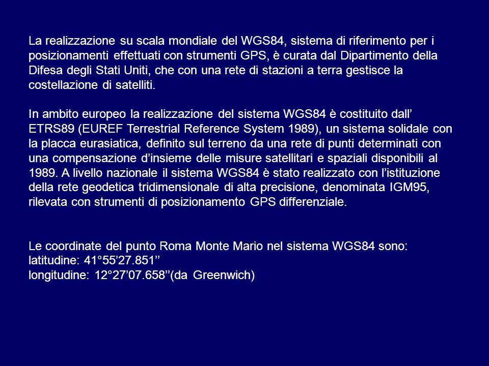 La realizzazione su scala mondiale del WGS84, sistema di riferimento per i posizionamenti effettuati con strumenti GPS, è curata dal Dipartimento della Difesa degli Stati Uniti, che con una rete di stazioni a terra gestisce la costellazione di satelliti.