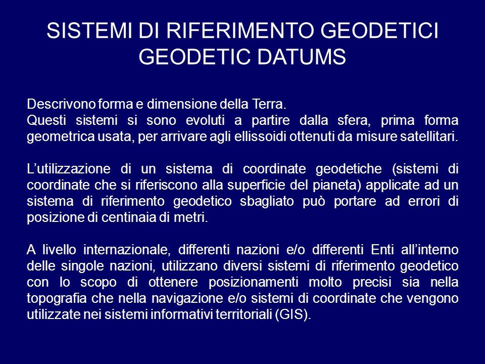 SISTEMI DI RIFERIMENTO GEODETICI