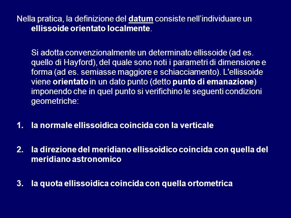 Nella pratica, la definizione del datum consiste nell'individuare un ellissoide orientato localmente.