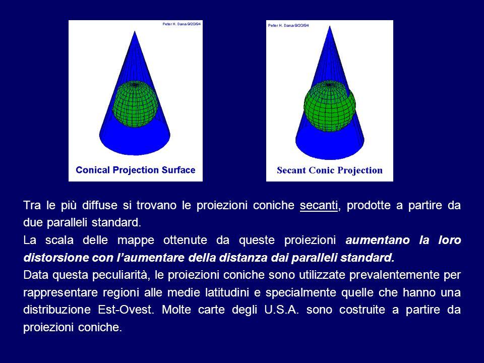 Tra le più diffuse si trovano le proiezioni coniche secanti, prodotte a partire da due paralleli standard.