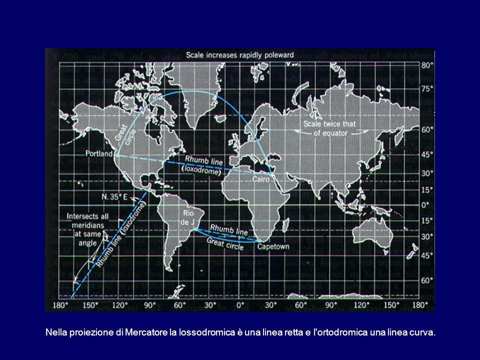 Nella proiezione di Mercatore la lossodromica è una linea retta e l ortodromica una linea curva.