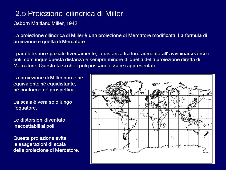 2.5 Proiezione cilindrica di Miller