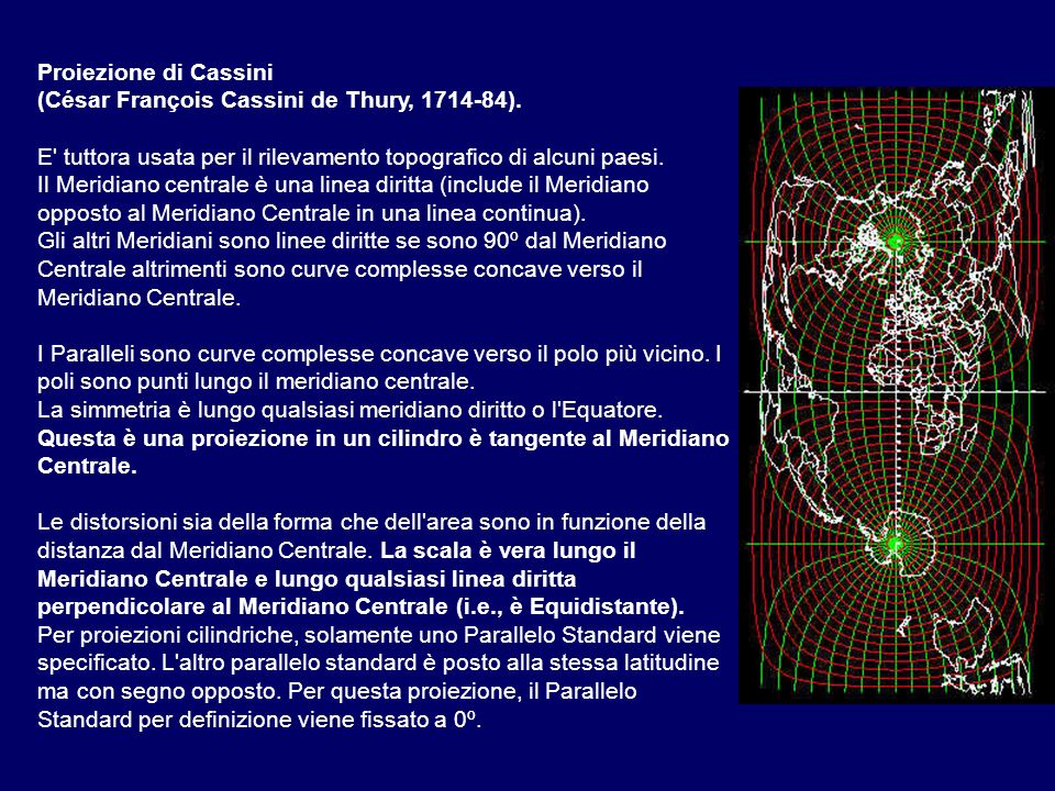 Proiezione di Cassini (César François Cassini de Thury, 1714-84). E tuttora usata per il rilevamento topografico di alcuni paesi.