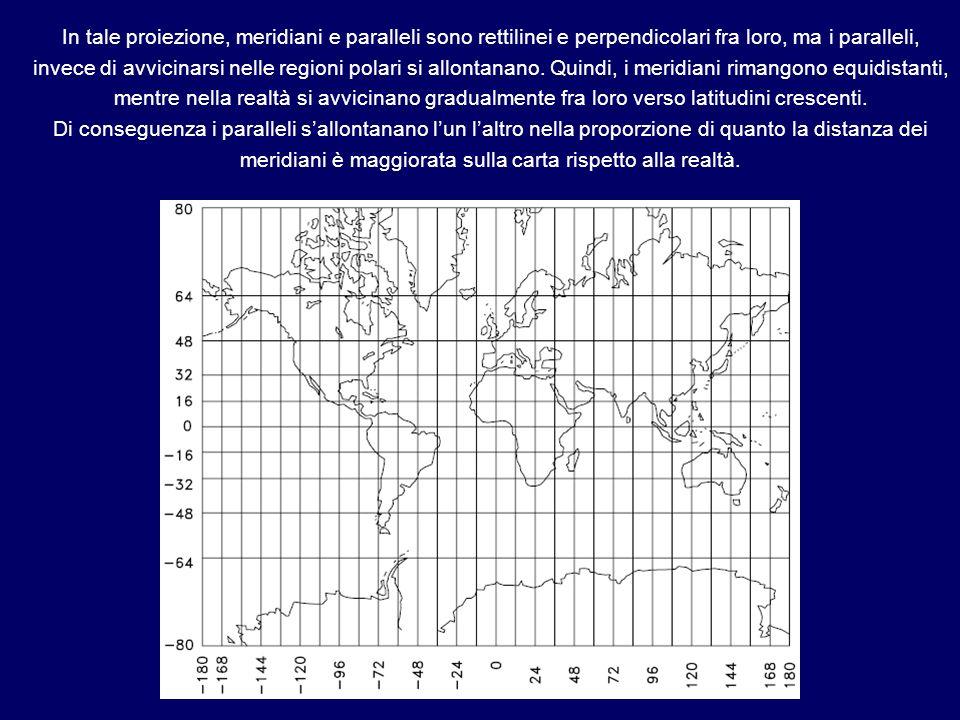 In tale proiezione, meridiani e paralleli sono rettilinei e perpendicolari fra loro, ma i paralleli, invece di avvicinarsi nelle regioni polari si allontanano. Quindi, i meridiani rimangono equidistanti, mentre nella realtà si avvicinano gradualmente fra loro verso latitudini crescenti.