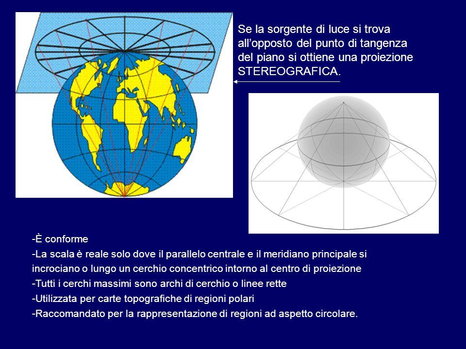 Se la sorgente di luce si trova all'opposto del punto di tangenza del piano si ottiene una proiezione STEREOGRAFICA.