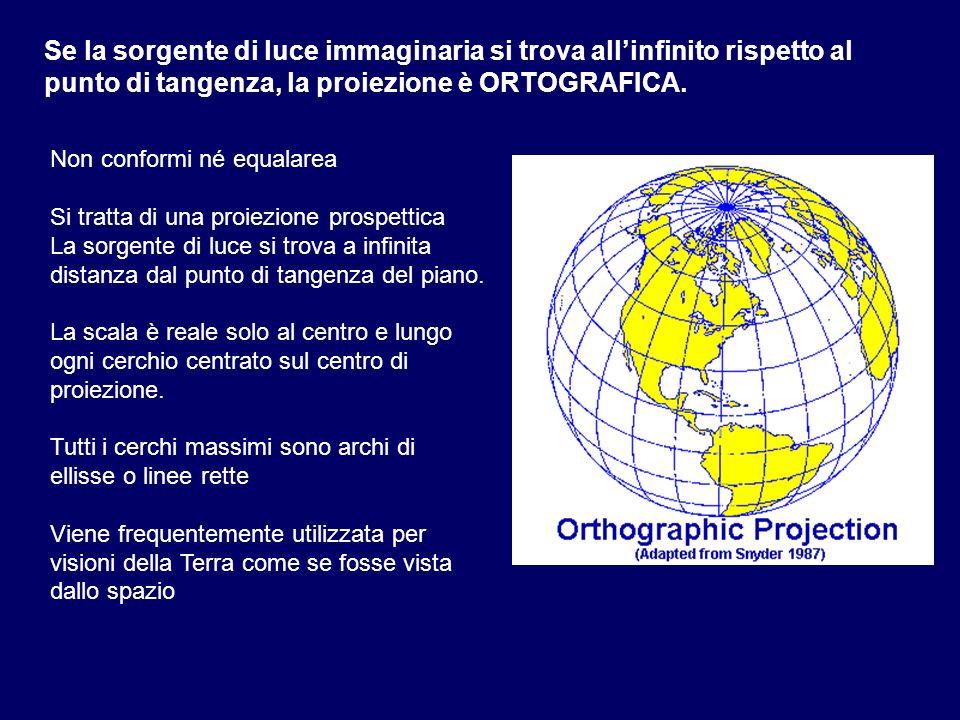 Se la sorgente di luce immaginaria si trova all'infinito rispetto al punto di tangenza, la proiezione è ORTOGRAFICA.