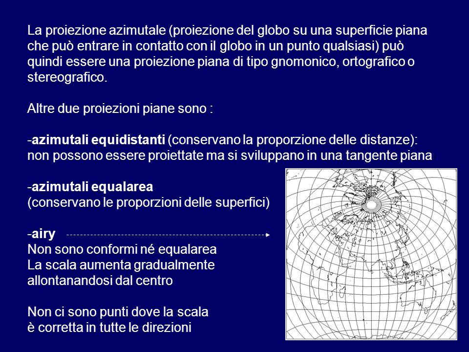 La proiezione azimutale (proiezione del globo su una superficie piana che può entrare in contatto con il globo in un punto qualsiasi) può quindi essere una proiezione piana di tipo gnomonico, ortografico o stereografico.