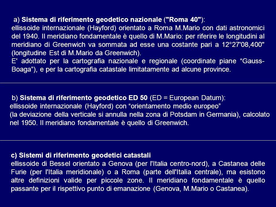 a) Sistema di riferimento geodetico nazionale ( Roma 40 ):