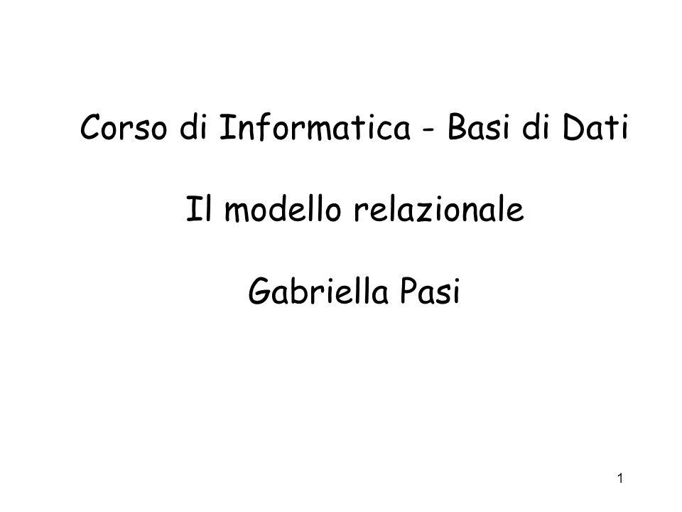 Corso di Informatica - Basi di Dati Il modello relazionale Gabriella Pasi