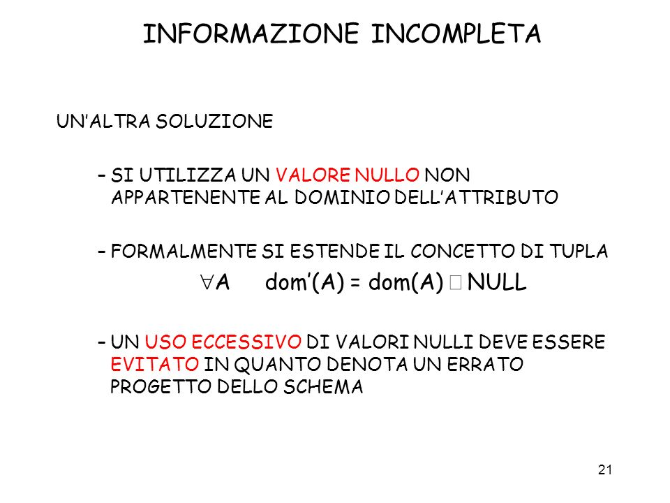 INFORMAZIONE INCOMPLETA
