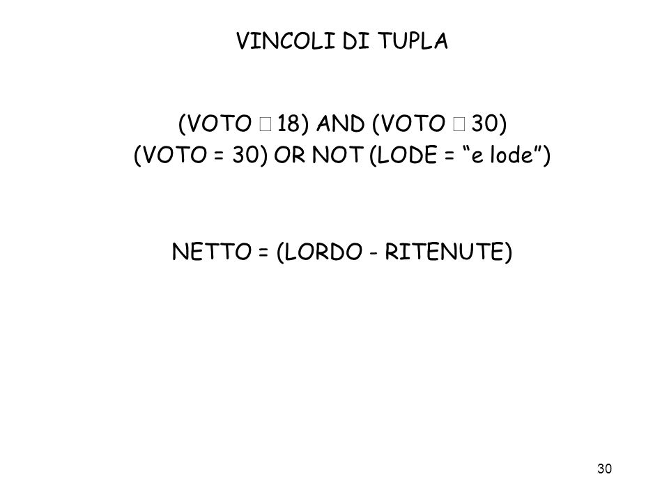 (VOTO = 30) OR NOT (LODE = e lode )