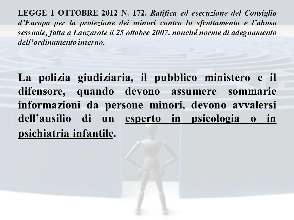 LEGGE 1 OTTOBRE 2012 N. 172. Ratifica ed esecuzione del Consiglio d'Europa per la protezione dei minori contro lo sfruttamento e l'abuso sessuale, fatta a Lanzarote il 25 ottobre 2007, nonché norme di adeguamento dell'ordinamento interno.