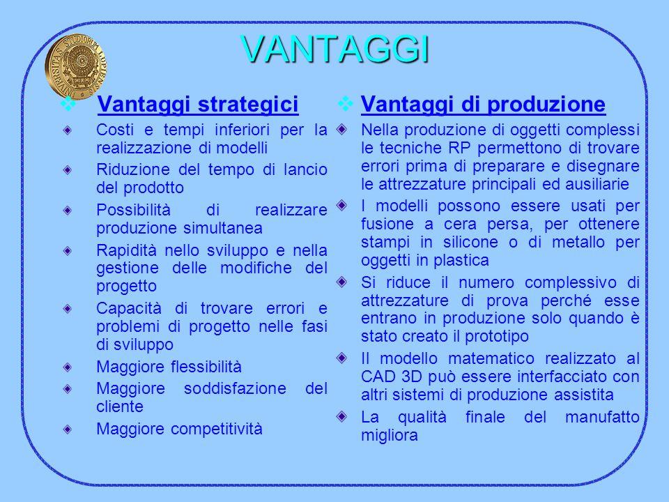 VANTAGGI Vantaggi strategici Vantaggi di produzione