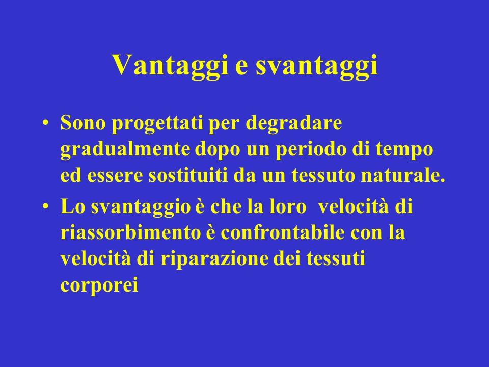 Vantaggi e svantaggi Sono progettati per degradare gradualmente dopo un periodo di tempo ed essere sostituiti da un tessuto naturale.