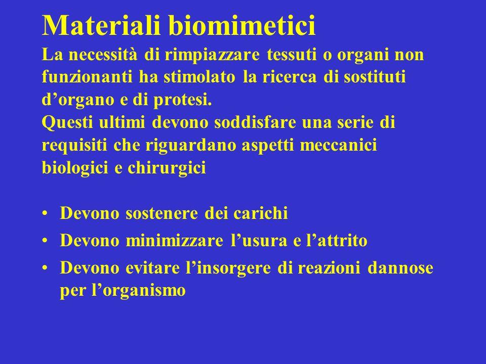 Materiali biomimetici La necessità di rimpiazzare tessuti o organi non funzionanti ha stimolato la ricerca di sostituti d'organo e di protesi. Questi ultimi devono soddisfare una serie di requisiti che riguardano aspetti meccanici biologici e chirurgici