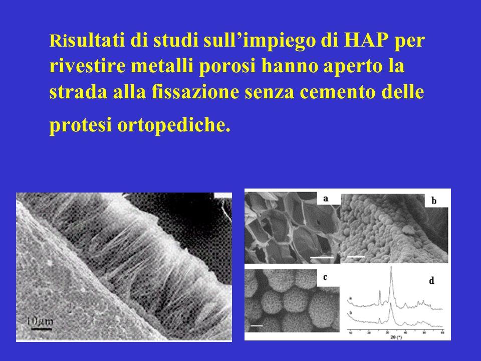 Risultati di studi sull'impiego di HAP per rivestire metalli porosi hanno aperto la strada alla fissazione senza cemento delle protesi ortopediche.