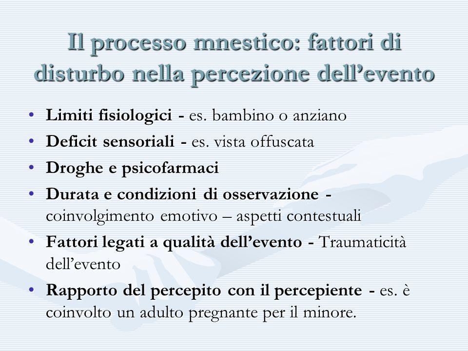 Il processo mnestico: fattori di disturbo nella percezione dell'evento